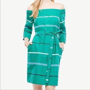 Ann Taylor Off Shoulder Poplin Dress